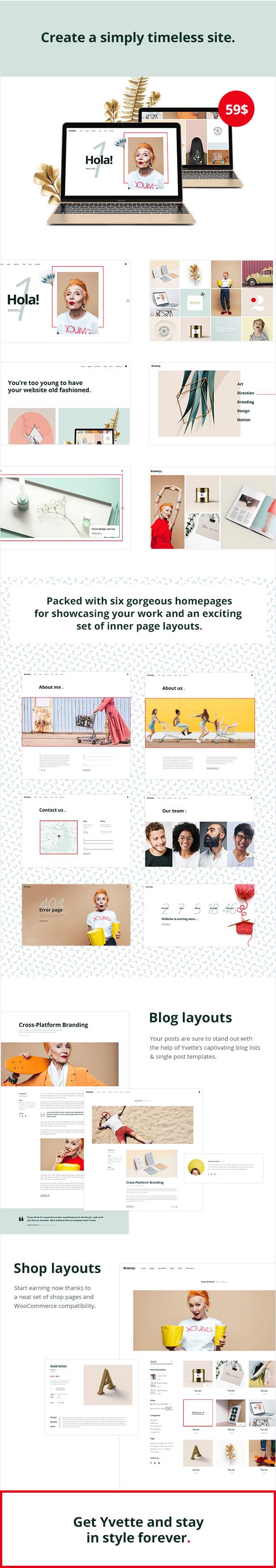 WordPress theme Yvette - A Modern, Lively Portfolio Theme (Portfolio)
